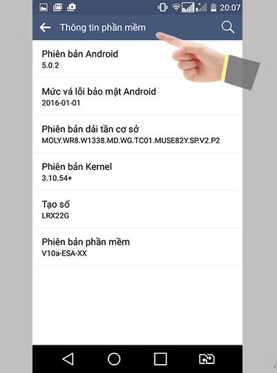 cập nhật phần mềm android