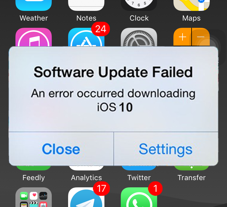"lỗi ios 10 ""Software Update Failed"""