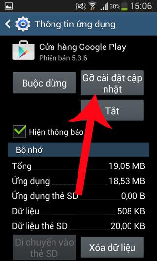 Gỡ bỏ cài đặt cập nhật Google Play Store