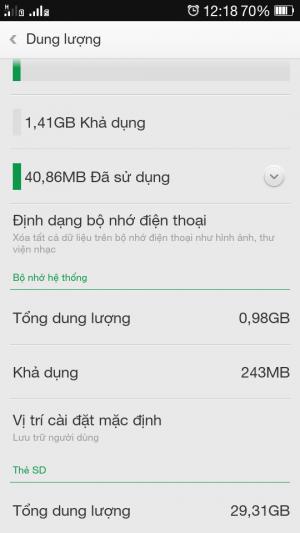 lỗi đầy bộ nhớ trên điện thoại Oppo