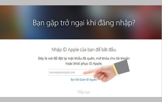 lấy lại mật khẩu icloud cho iphone/ipad