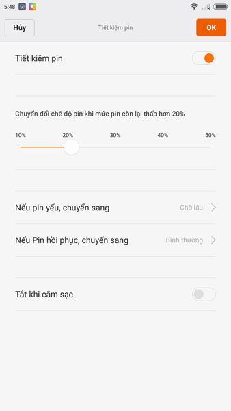 Thiết lập chế độ tiết kiệm pin cho Xiaomi Mi 5
