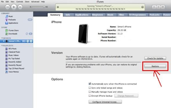 Restore iphone 5C